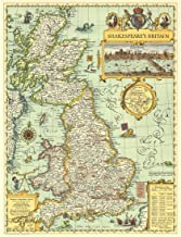 Meishe Art Poster Print Retro Vintage UK Great Britain Shakespeare's Map Office Home Wall Decor