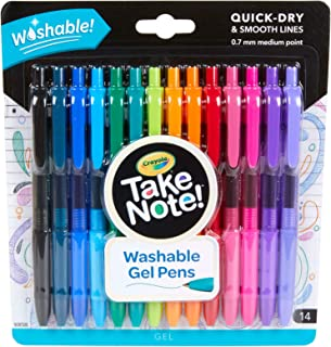 Crayola Take Note! Washable Gel Pens, 14 Pack, 0.7mm Medium Tip, Great for Writing, Journalling and Making Notes
