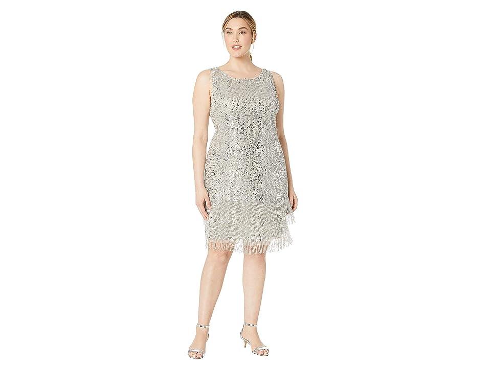 Adrianna Papell Plus Size Sleeveless Fringe Beaded Cocktail Dress (Silver) Women