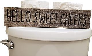 Rustic Wood Box for Toilet - Handpainted on Real Reclaimed Wood (Hello - Print, Grey/Black)