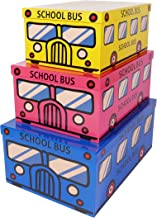 SLPR Decorative Storage Cardboard Boxes (Set of 3, School Bus) | Nesting Gift Boxes with Lid for Keepsake Toys Closet Nurs...