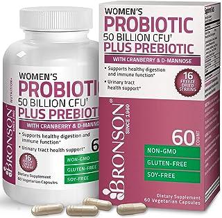 Bronson Women's Probiotic 50 Billion CFU + Prebiotic with Cranberry & D-Mannose – Vaginal Health, Healthy Digestion, Immun...