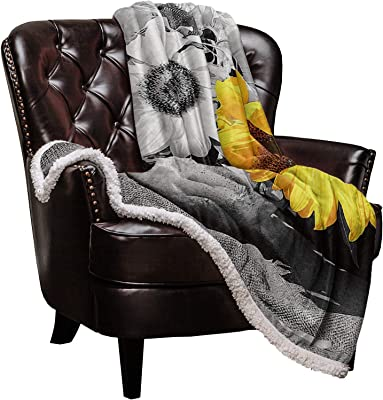 Sherpa Fleece Throw Blanket Abstract Paint Art Sunflowers in Vase Reversible Fuzzy Warm and Cozy Throws, Yellow and Grey Super Soft Plush Bed TV Blankets for Living Room Couch/Sofa/Travel/Office