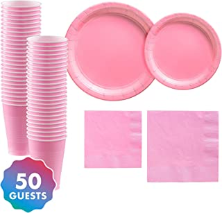 Party City Solid Pink Tableware Supplies for 50 Guests, Include 2 Sizes of Paper Plates and Napkins, plus Plastic Cups
