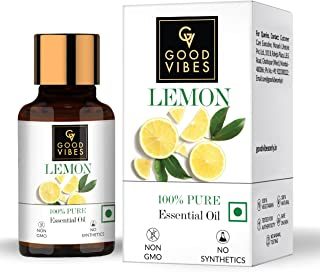 Good Vibes 100% Pure Lemon Essential Oil, 10 ml Naturally Brightens Skin, Helps Reduce Dandruff, Suitable For All Skin & H...