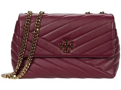 Tory Burch Kira Chevron Small Convertible Shoulder Bag (Imperial Garnet) Handbags