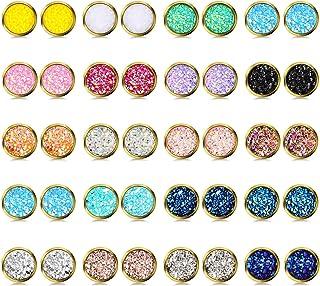 20 Pairs Druzy Stud Earrings Set Stainless Steel Round Earrings Pierced Earrings Jewelry for Women Girls