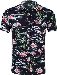 Men's Flowers Flamingos Casual Aloha Hawaiian Shirt
