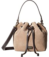 Frances Valentine - Small Suede Calf Trim Bucket Bag w/ Drawstring