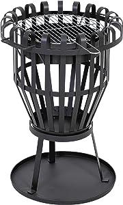 KaminoFlam Brasero extérieur noir sur pied – Foyer à bois fonctionnel pour terrasse ou jardin - Barbecue rond 2-en-1 rond élégant et original – Chauffage à bois extérieur décoratif et durable