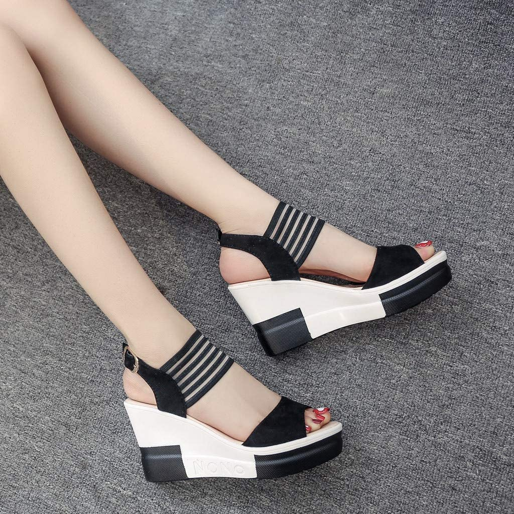 Women Sandals Womens Peep Toe Ankle Strap Buckle Wedge Sandals Belt Buckle High Heel Shoes Memela