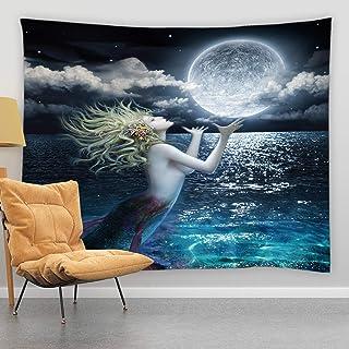 jingjiji Mermaid Tapestry Fantasy Starry Sky Full Moon Night Blue Ocean Galaxy Planet Colorful Fashion Girl Underwater Mar...