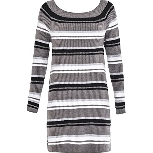 8ea1d22d5f Overdose® Womens Ladies Long Sleeve Chunky Knitted Dress Striped Jumper  Dress Mini Dress