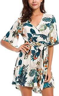 f187f54dbf43 KorMei Womens V Neck Floral Print Tie Waist Short Romper Jumpsuit Dress