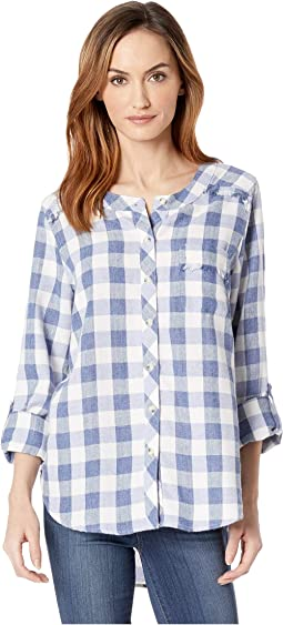 Buffalo Check Flannel Mandarin Collar Shirt with Fringe Trim