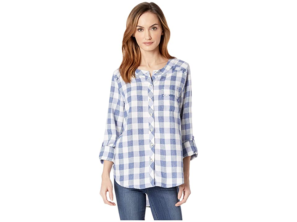 Mod-o-doc Buffalo Check Flannel Mandarin Collar Shirt with Fringe Trim (Blue) Women