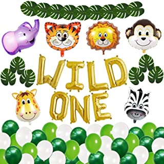 Wild One Birthday Decorations Set - Gold , Pack of 45 I Wild One Letter Foil Balloon I Animal Shape Mylar Balloons I 1st B...
