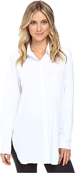 e5014ba0dc1c9 Lysse. Tie Front Button Down Microfiber Top.  98.00. White