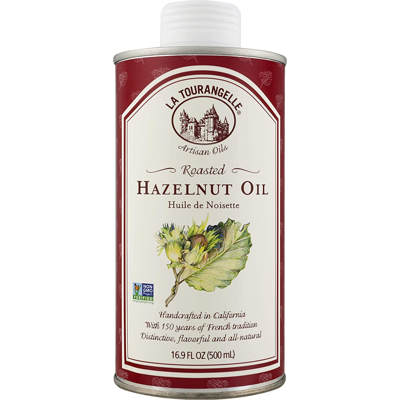 La Tourangelle Roasted Hazelnut Oil 16.9 Fl. Oz., All-Natural, Artisanal, Great for Salads, Fruit, Fish or Vegetables