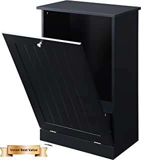 Seven Oaks Tilt Out Free Standing Kitchen Trash or Recycling Cabinet (Black)