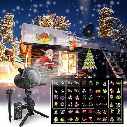圣诞投影仪灯,Maxcio LED 投影仪灯,适合万圣节、圣诞节、感恩节、生日、15 动态胶片、2018 新节日装饰灯,室内/室外使用防水,6W