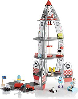 Pidoko Kids Space Ship Rocket Center - Includes Astronauts and Accessories - Wooden Doll House Station Playset - Spaceship Toys For Boys and Girls