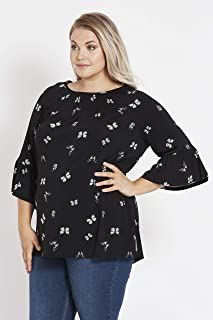 Beme Elbow Flutter Sleeve Shirred Neck Knit Top - Womens Plus Size Curvy