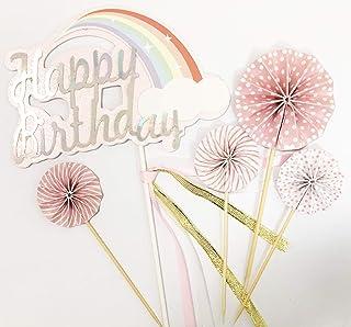 Toppers de decoración de pasteles con purpurina hechos a mano de 5 cuentas para pastelitos de pastelitos y helado - Feliz cumpleaños rosa conjunto de ventiladores