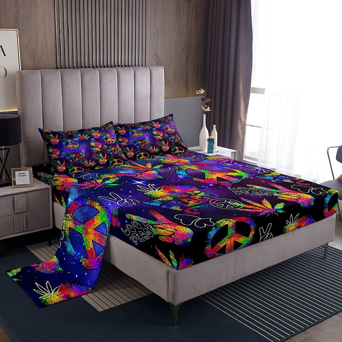 Cannabis Max 60% 5 popular OFF Leaves Bedding Sets Love Colorful Fitted Sheet Ma Peace