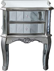 Abreo Mirror Silver Trim Bedroom Furniture Bedside Table Console Mirrored Matching (Sophia Bedside Table)