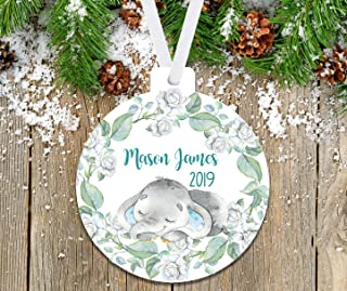 Wood Hallmark Keepsake Ornament 2019 Year Dated Baby/'s First Christmas Elephant Pull Toy