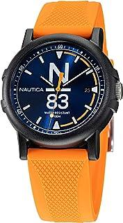 Nautica Men's Quartz Silicone Strap, Orange, 20 Casual Watch (Model: NAPEPS103)