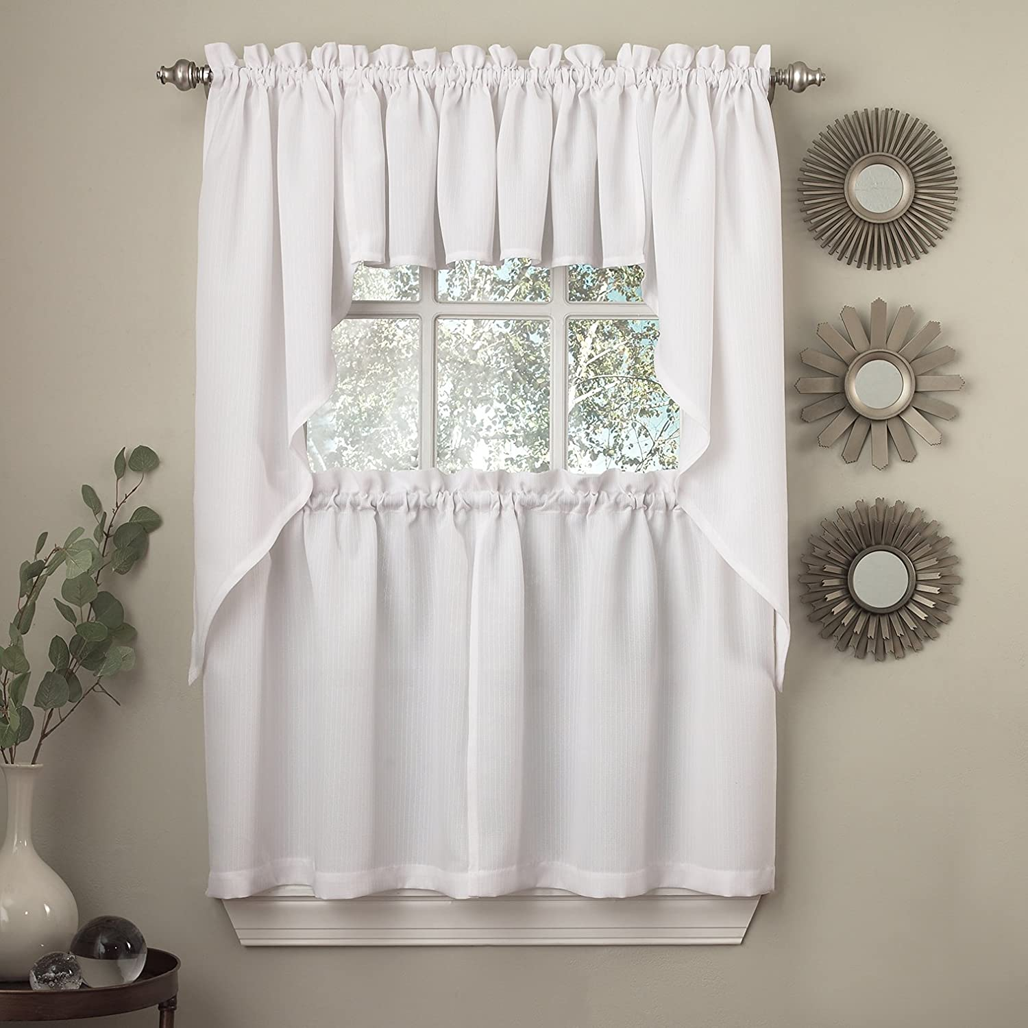 24 Tier Pair Choice 36 Sheer Ivory Swag Sweet Home Collection 5 Pc Kitchen Curtain Set Valance