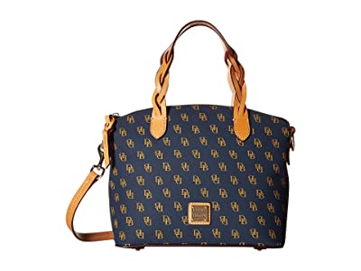 Dooney & Bourke Blakely Small Celeste Satchel (Navy/Btrsctch Trim) Satchel Handbags