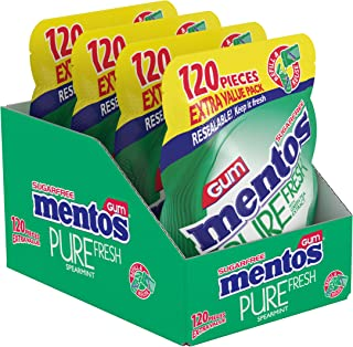 Mentos Pure Fresh Sugar-Free Chewing Gum with Xylitol, Spearmint, 120 Piece Resealable Bag (Bulk Pack of 4)