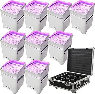 LED Battery Powered Wireless DMX - 16 Hour - 9 Lights w/Case - 9x6W RGBAW+UV - Wedding Up Lights