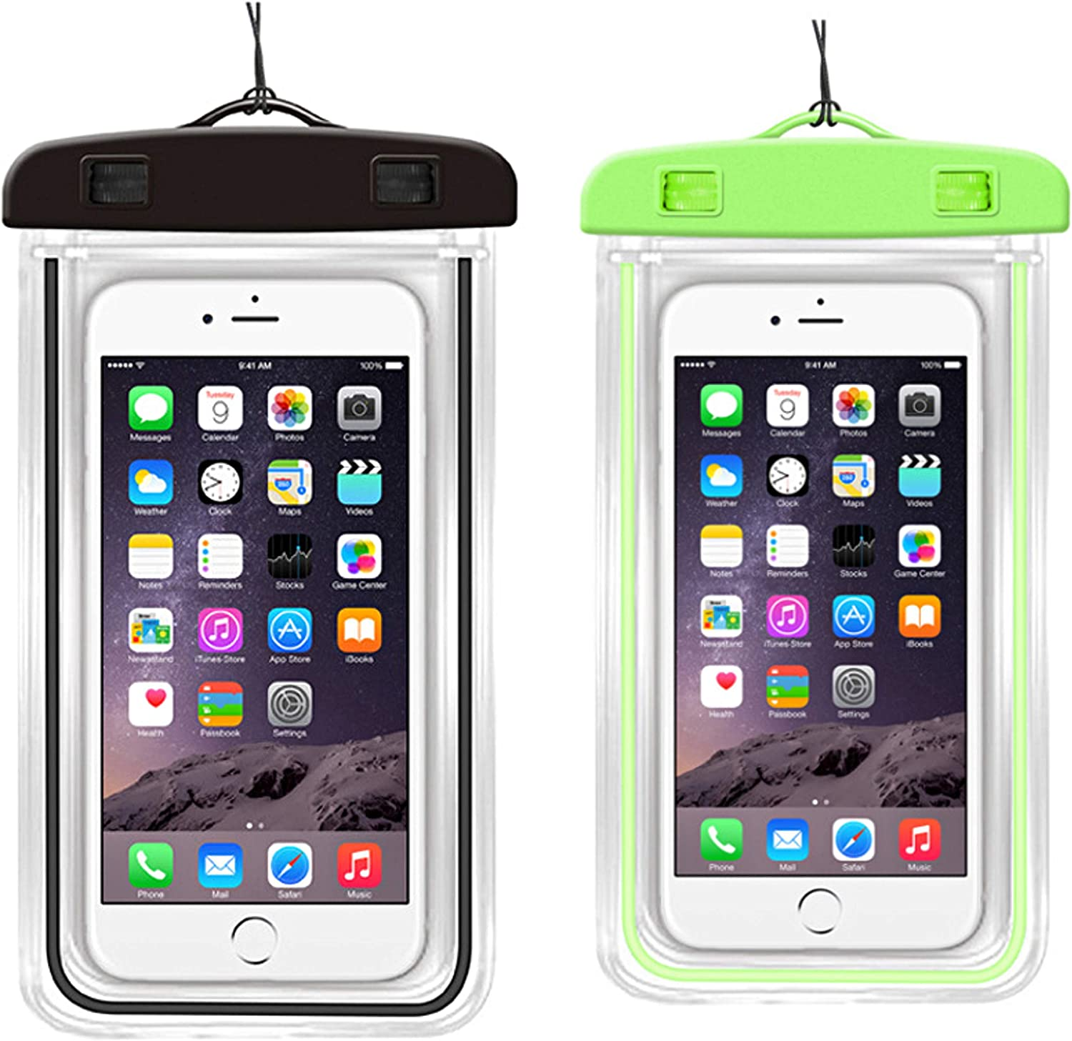 [2-Pack] Universal Waterproof Phone Case,IPX8 Waterproof Dry Bag Underwater Case with Lanyard Compatible for iPhone 12 Pro Max/11/Xs Max/XR/X/8 Plus Galaxy Pixel up to 7