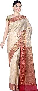 Women's Cotton Silk Blend Indian Ethnic Banarasi Saree with unstitched Blousepiece(1088)