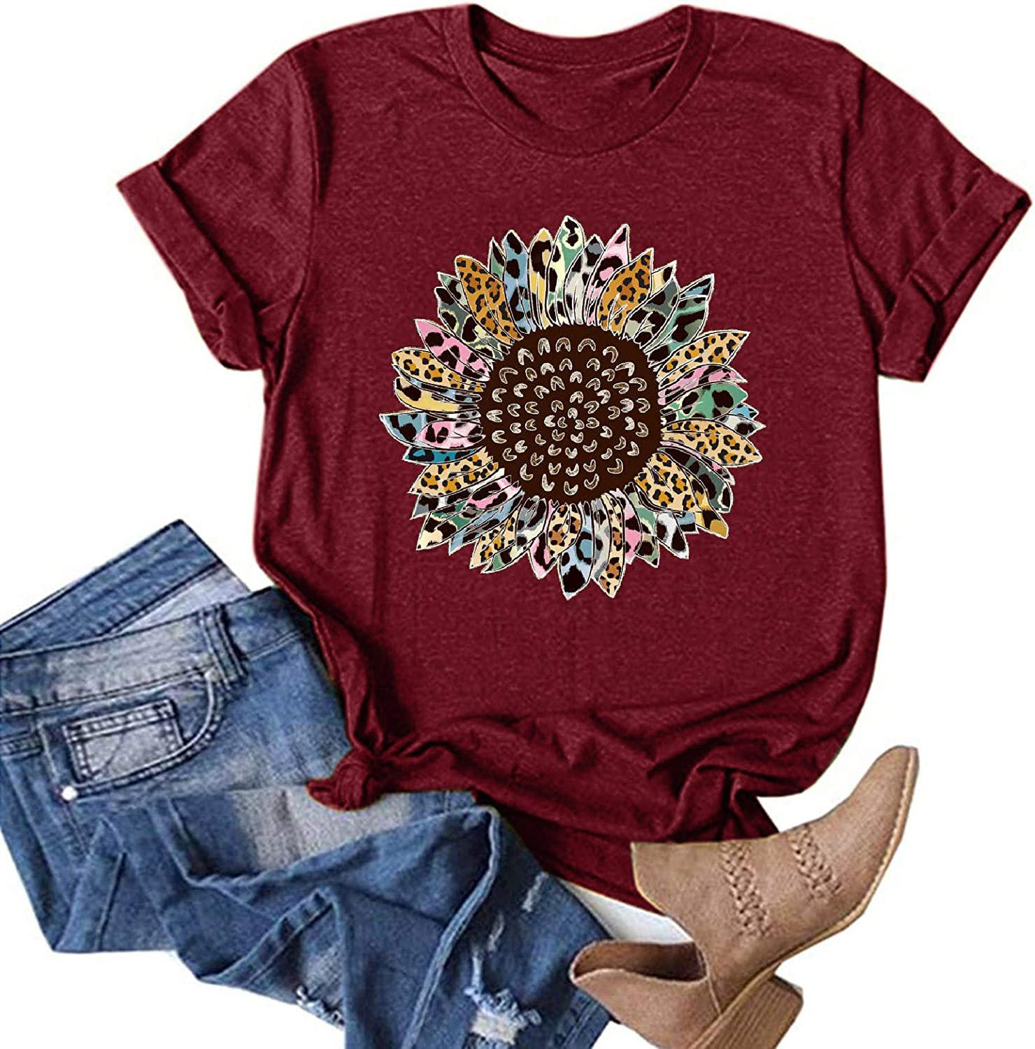 Womens Summer Tops,T-Shirts for Women Funny Graphic T-Shirts Casual Dandelion Printed Blouses Tunic Tees