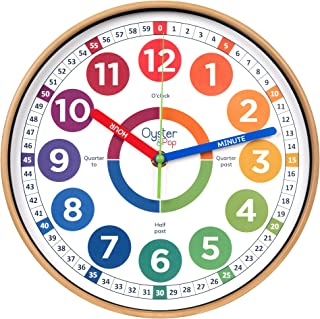 Learning Clock for Kids - Telling Time Teaching Clock - Kids Wall Clocks for Bedrooms - Kids Room Wall Decor - Silent Anal...