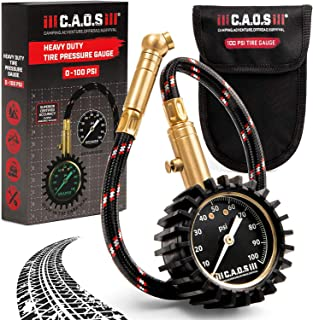 CAOS Tire Pressure Gauge with Hose - Analog Dial, 0-100 PSI - Air Pressure Reader for Car or Bicycle Tires - Backlight for Easy Read