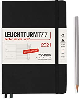 $28 » LEUCHTTURM1917 361815 Weekly Calendar + Notebook 2021 Hardcover Medium (A5), 12 Months, Black, German