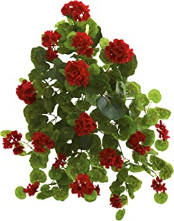 """Nearly Natural 26"""" Geranium (Set of 2) Artificial Plant, Red"""