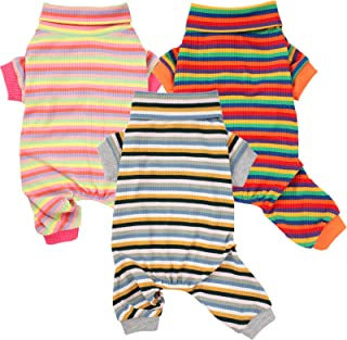 3 Pieces Dog Onesie Pet Pajamas for Small Dog Soft Puppy Sleep Clothes Dog Cotton Shirts Pet Rainbow Stripes Pajamas Comfo...