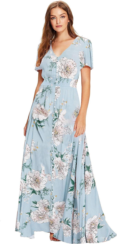 Milumia Women Floral Print Flowy Short Sleeves Button Down Split Long Maxi Dress