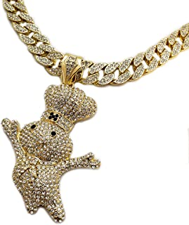 Hip Hop Iced Out Large Doughboy Pendant & 18