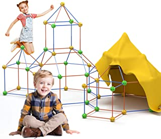 Bayobii Fun Kids Fort Building Kits 122 Pieces +1 Blanket- Construction Toys for Boy & Girls- Learning Toys DIY Play Tent ...