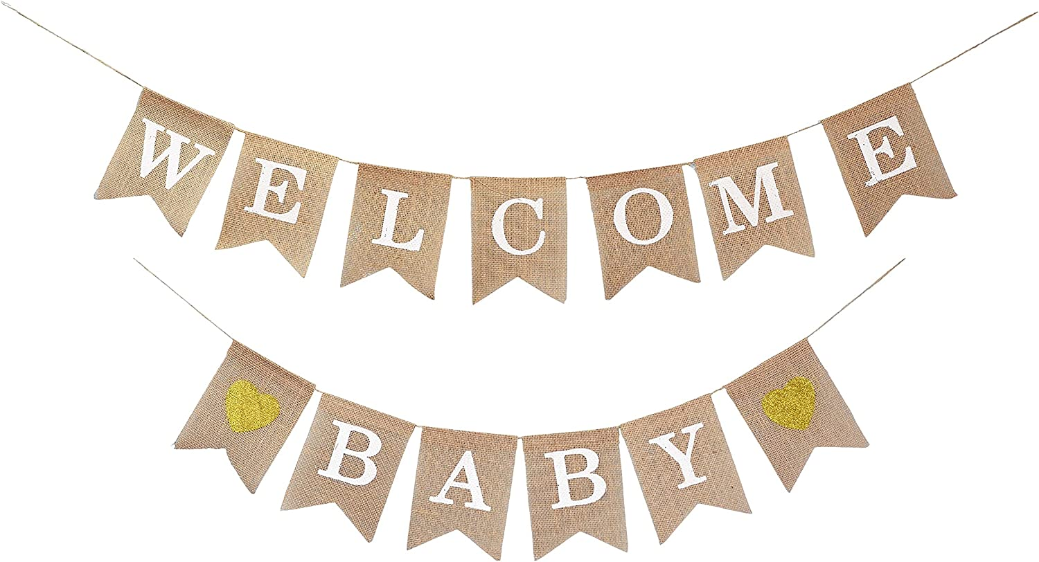 Mandala Crafts Welcome Baby Banner for Gender Neutral Baby Shower Decorations - Baby Shower Banner for Baby Shower Decor - Baby Burlap Banner Garland