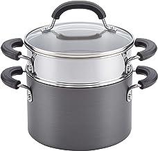 Circulon 84207 Promotional Hard Anodized Nonstick Sauce Pan/Saucepan with Steamer Insert, 3 Quart, Gray
