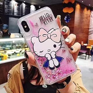 iPhone 7 Plus/iPhone 8 Plus Cute Hello Kitty Liquid Glitter Case Cover Sparkle Love Heart Clear TPU Shockproof Bumper Case (#2, iPhone 7 Plus/iPhone 8 Plus)